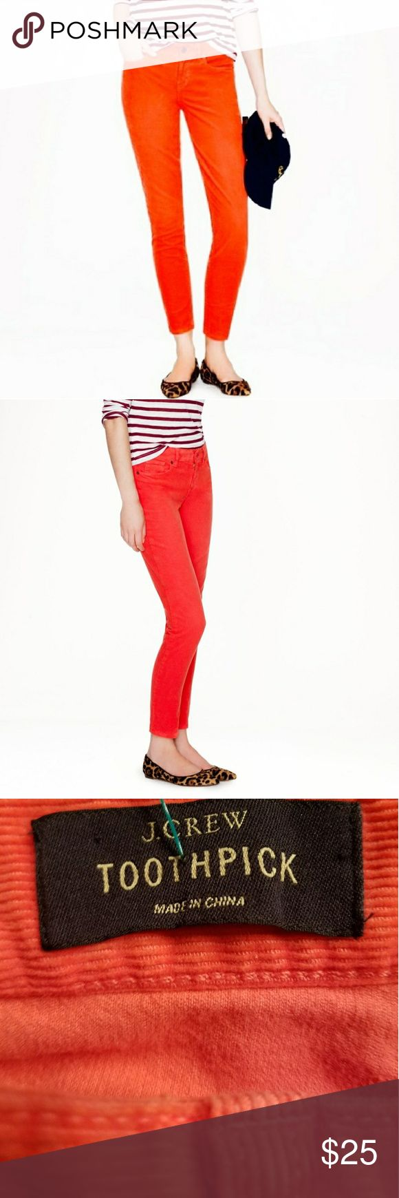 J. Crew toothpick orange corduroy ankle pants EUC Toothpick ankle corduroys. Color has been  called orange, red, coral. I think it is an orange red shown accurately in my pics. Size 32. More pics and measurements to follow. These look new. J. Crew Pants Ankle & Cropped