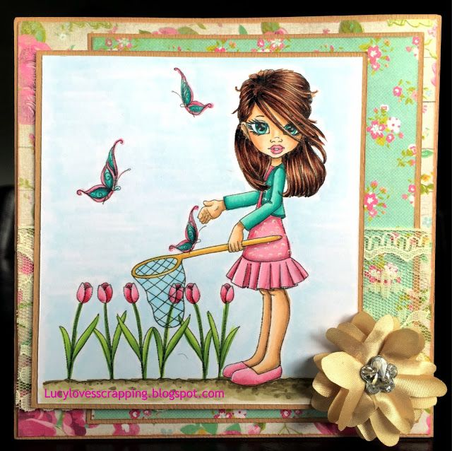 Lucy loves scrapping: Cute as a Button CAAB girl digital stamp, hand colored with Copic markers, handmade cute girly card