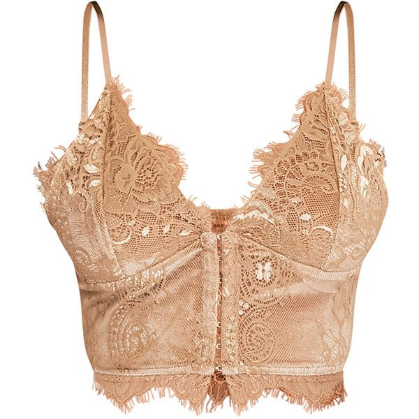 Hannah Gold Eyelash Lace Corset Bralet (42 AUD) ❤ liked on Polyvore featuring tops, gold corset top, gold corset, corsette tops, bralet tops and gold top