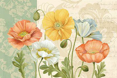 Pamela GladdingPastel Poppies Multi Landscape <br> 36x24