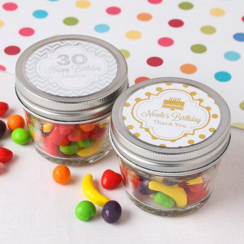 Personalized Birthday Metallic Foil 4 oz. Mason Jars