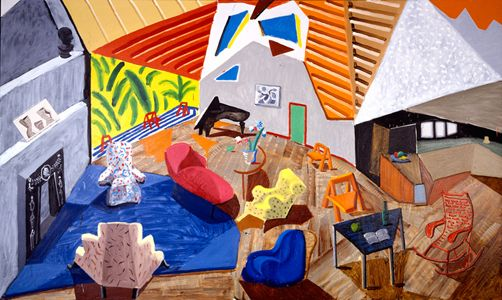 DAVID HOCKNEY: PAINTINGS, large interior, LA, 1988.