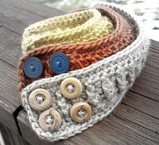 Hand crocheted cuff bracelets could do belts too!! @Hannah Abney