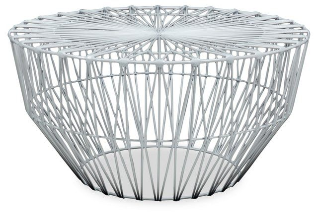 Gorgeous outdoor modern side table. Bend Drum Table, White
