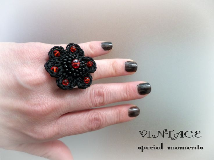 Crocheted Black Flower Ring decorated with crystal facelet cut beads in Red Colour/Celebration Gift/Crochet Jewelry/Crochet Ring/Beaded ring by Vintagespecialmoment on Etsy