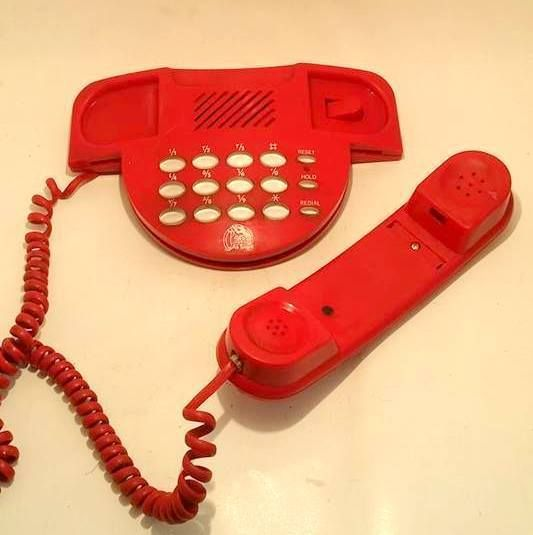 RED LANDLINE PHONE TELEPHONE VINTAGE PUSH CORDED LANDLINE RETRO R.O.C TAIWAN