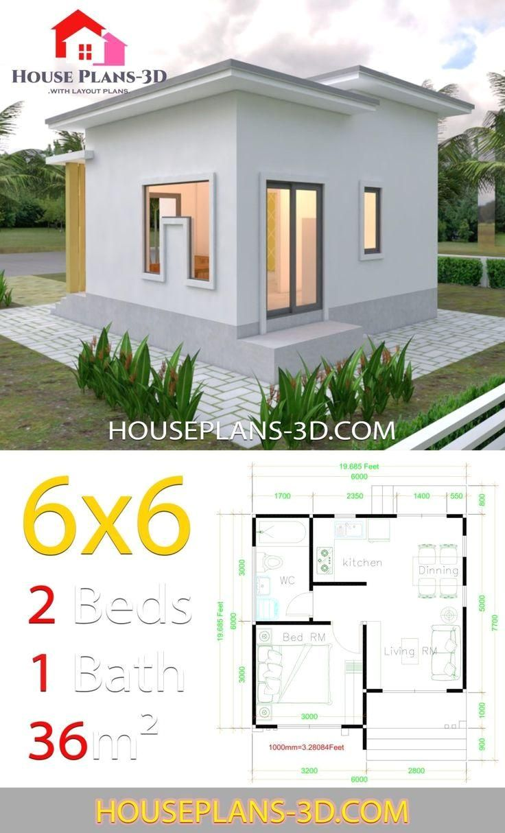 House Plans 6x6 With One Bedrooms Flat Roof House Plans 3d 6x6 Bedrooms Flat House Plans Roof Hou Flat Roof House House Roof Small Modern House Plans