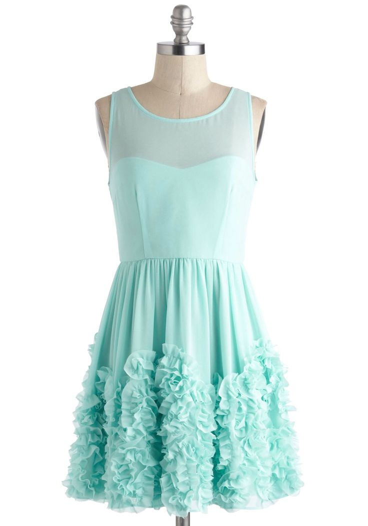 Crimpin' My Style Dress - Solid, Ruffles, Party, Fairytale, A-line, Sleeveless, Short, Mint, Prom, Pastel, Sheer, Graduation