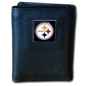 Pittsburgh Steelers Trifold Wallet by Siskiyou. Save 59 Off!. $16.50. Sculpted pewter team emblem. Made of high quality fine grain leather and nylon. Officially licensed by NFL. These NFL leather/nylon tri-fold wallets feature a sculpted and handpainted team square on a black leather trifold. For a sporty feel, the liner of the wallet is made of soft quality nylon.