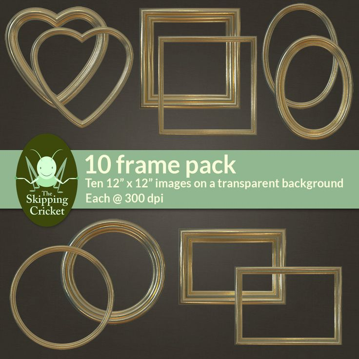 Gilded gold digital picture frames - gold digital borders - gold scrapbooking frame - gold scrapbooking border - photo realistic by theskippingcricket on Etsy