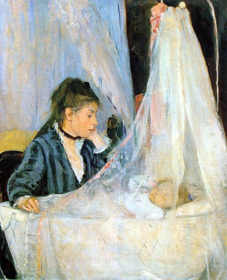 "berthe morisot's, (one of the few female impressionists) ""the cradle"" - fantastic depiction of the awe and exhaustion of motherhood."