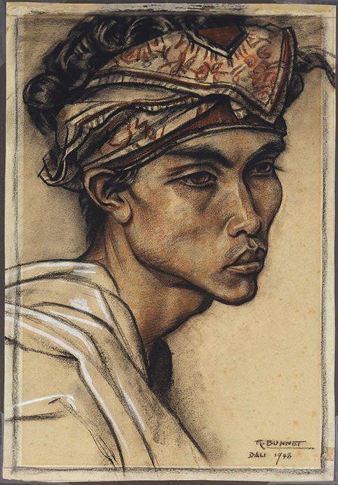 Rudolf Bonnet (1895-1987) - Portrait of a Balinese man, pastel, 55,5 x 38,5 cm. 1948.