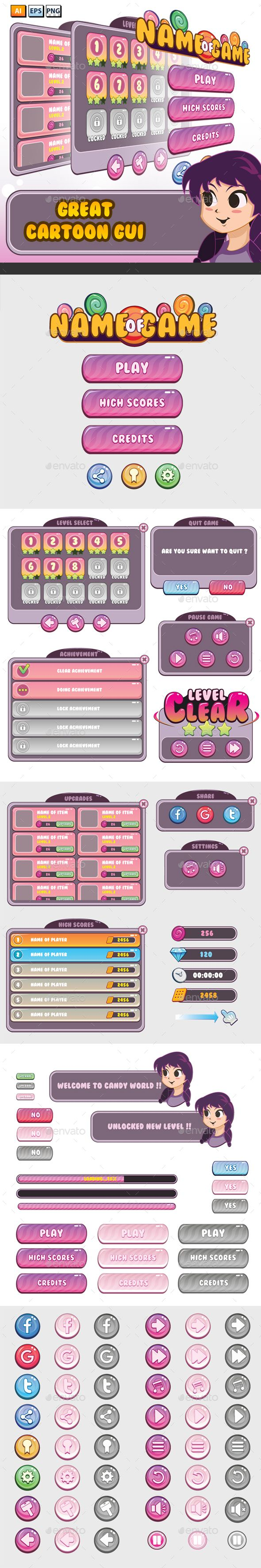 Cartoon Mobile Game GUI - User Interfaces Game Assets