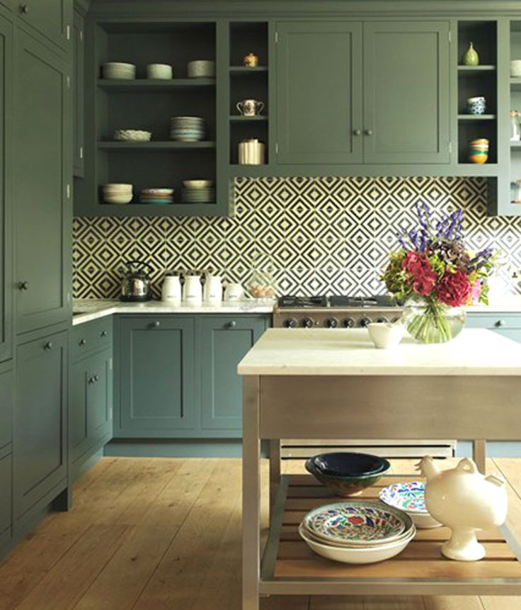 Green Kitchen Cabinets: Black And White Geometric Tile Pattern In