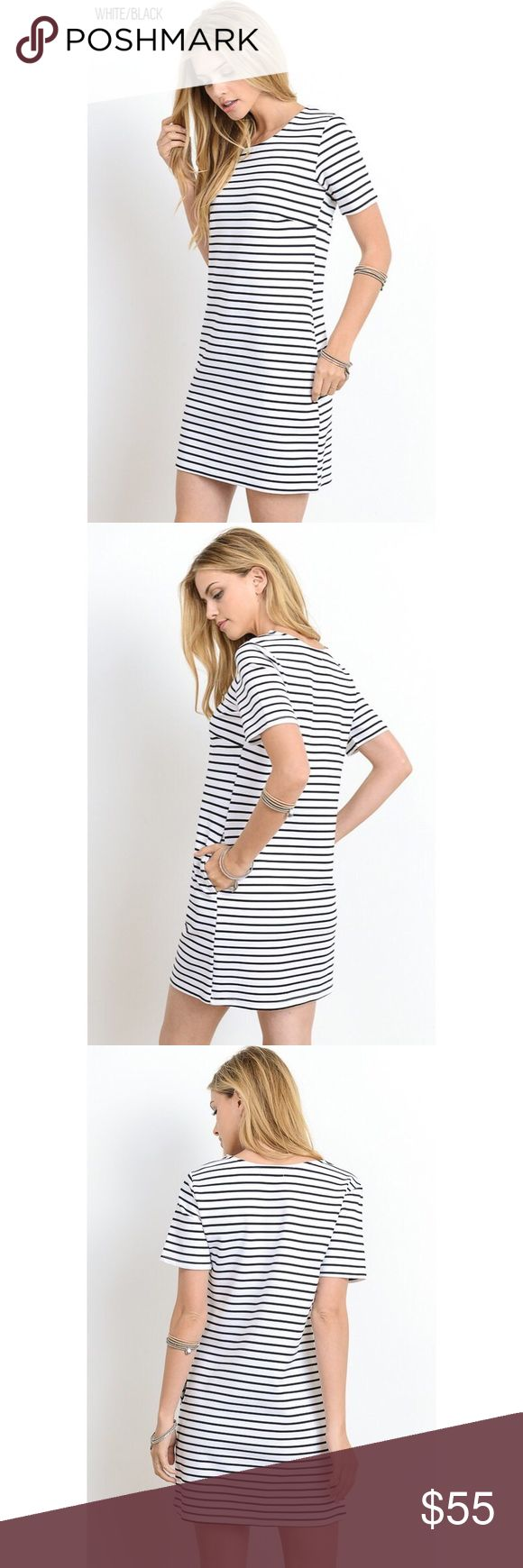 🆕 Daily Grind White/Black T-Shirt Striped Dress Dress it up or play is down in the Daily Grind White/Black T-Shirt Striped Dress! Best worn any day of the week and for any season! Features short sleeves, stretchy and loose material for a relaxed fit and pockets.  50% RAYON 45% NYLON 5% SPANDEX . . . If you would like to make an offer, please use the OFFER BUTTON. {10% discount on all 2+ orders} . . FOLLOW US✌🏽️ Insta 📸: shop.likenarly Facebook📱: likenarly Website 🌐: likeNarly.com…