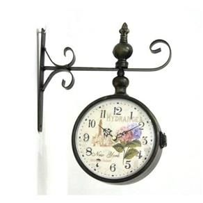 Relógio De Estação De Parede Dupla Face Retrô Vintage 30x25 - F521