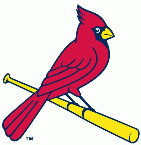 St. Louis Cardinals Alternate Logo (1998) - A cardinal perched on a yellow bat looking right