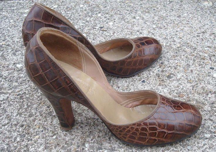 VINTAGE Womens 5 Genuine ALLIGATOR HIGH HEEL 1940's GLOBE SHOE Co SAVANNAH USA #Heels