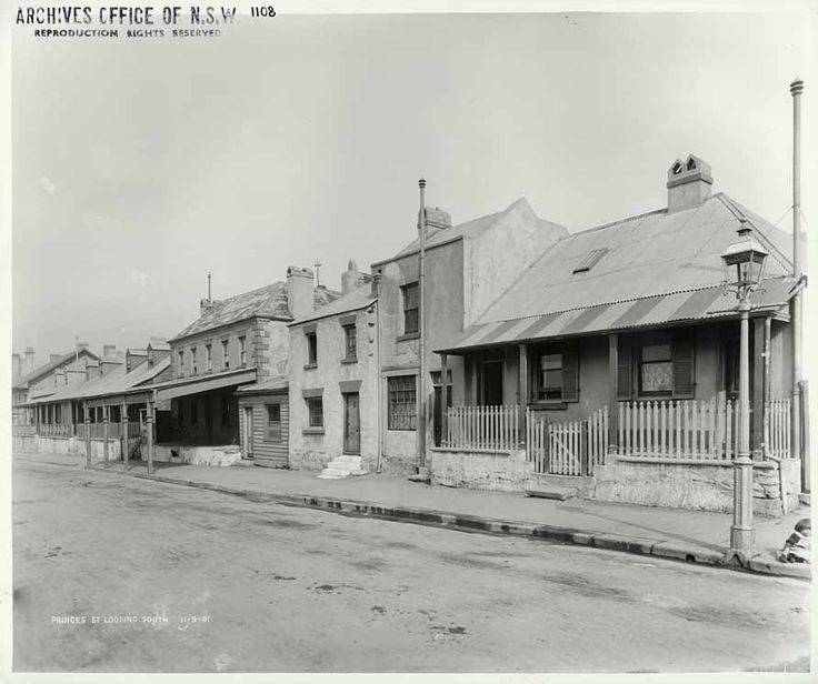 Princes St looking south from corner of Essex St. Rocks Resumption photographic survey.11/09/1901. State Records NSW - Photo Investigator