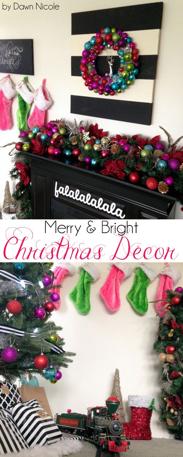 Merry and Bright Christmas Décor and DIY Wood Mantel Sign | bydawnnicole.com