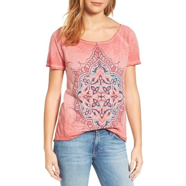 Women's Lucky Brand Geo Floral Tee ($40) ❤ liked on Polyvore featuring tops, t-shirts, biking red, raglan sleeve t shirt, pattern t shirt, floral tops, lucky brand tees and raglan t shirt