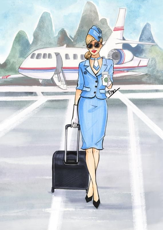 Днем, картинки стюардесса и самолет нарисовать