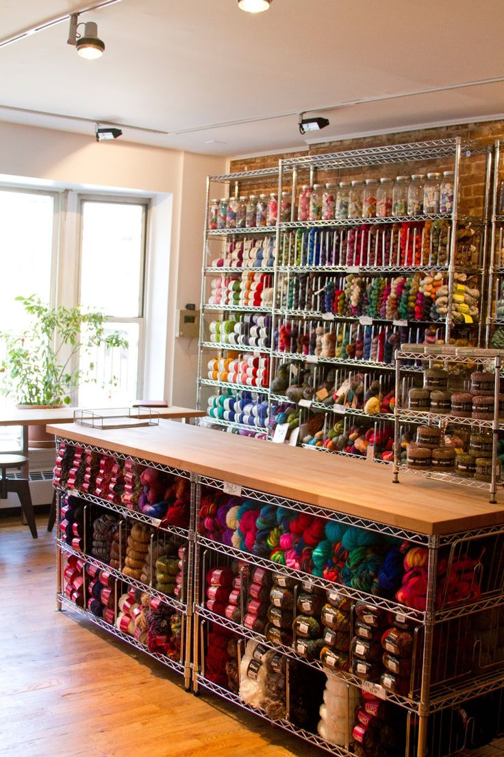 If only my knitting & fabric supplies looked like this instead of crammed into plastic bins!