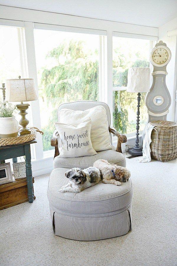 Farmhouse Pillows Cottage Style Sunroom And Neutral