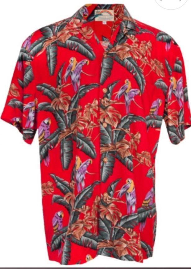 Vtg Mens Paradise Found Magnum PI Red Floral Hawiian Shirt Large XL Jungle Bird  | eBay