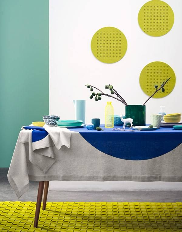 Big spot table linen by AURA Home. Styling by Bek Sheppard and photography  by Reuben Gates. #tracieellis #aura #aurahome
