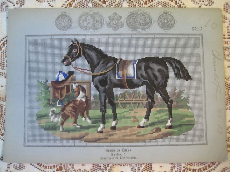A Berlin WoolWork Horse With Dog Pattern Produced By Heinrich Kuehn In Berlin