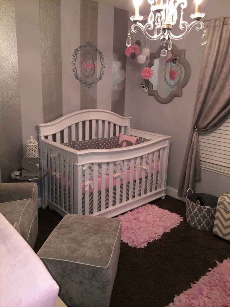"A romantic and elegant gray, white and pink nursery. This is my first baby girl and I wanted her room to be different than the ""traditional"" nursery."