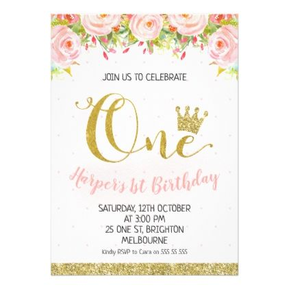Crown Floral Princess 1st Birthday Invitation - invitations custom unique diy personalize occasions