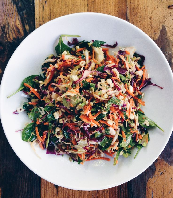 Our Raw Salad made with Spinach, Carrot, Cabbage, Avocado, Mung Bean Sprouts and more