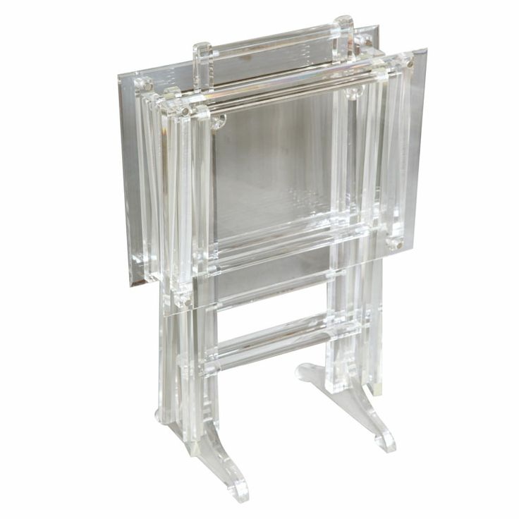Fabulous Set of Lucite Lux Tray Tables on Stand U. Vintage set of two  folding lucite tables on a substantial stand.