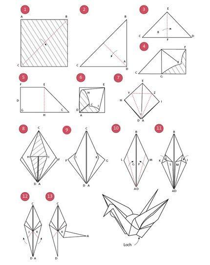 Faltanleitung Origami Kraniche Für Die Tischdekoration Papier