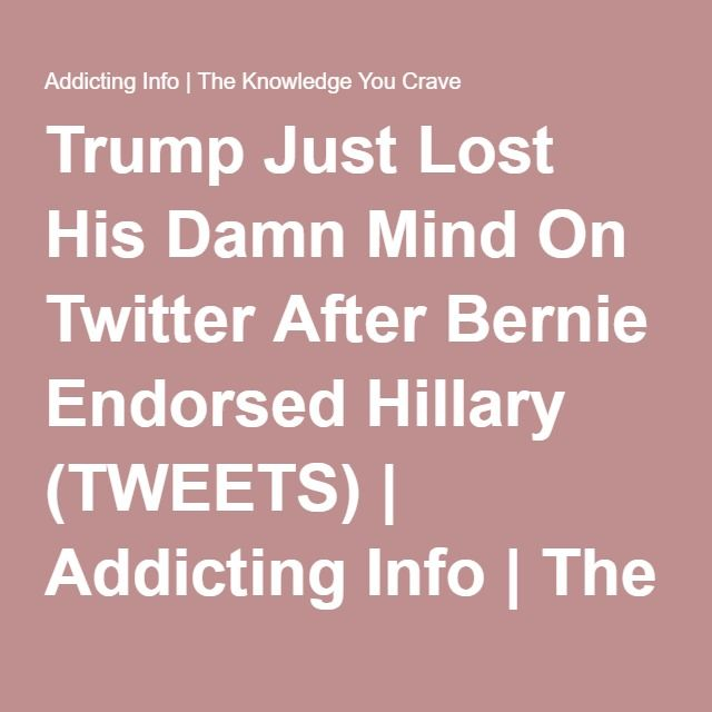 trump just lost his damn mind on twitter after bernie endorsed hillary tweets