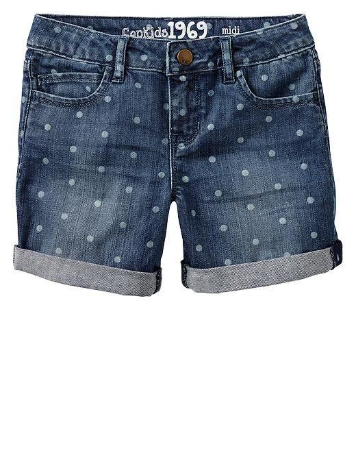 Gap   1969 polka dot denim midi shorts