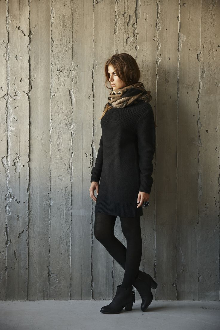 Cisse Knit Dress styled with the soft Canimal Knit Scarf
