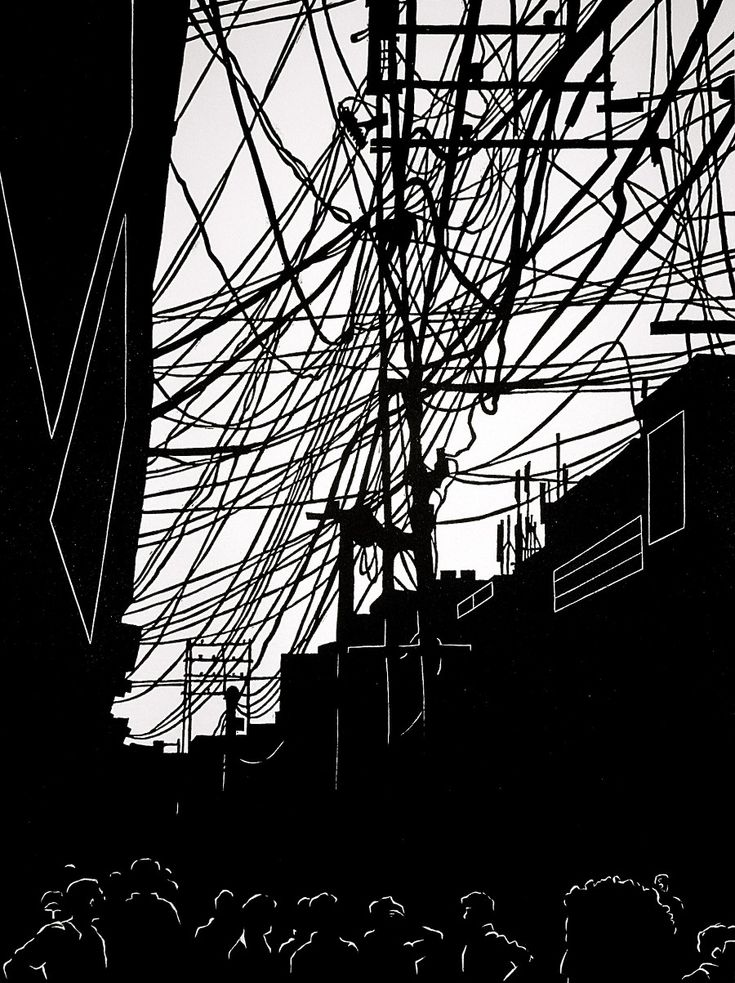 Connected - linocut 2008 - Darrel Perkins, U.S.A.