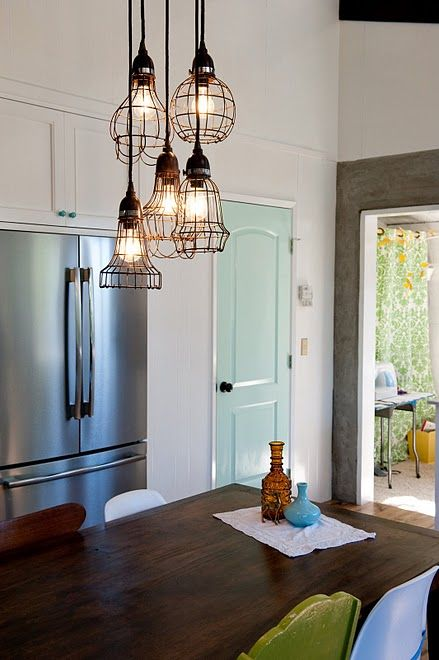love the caged lights: Hanging Lights, Paintings Doors, Lights Fixtures, Blue Doors, Industrial Lights, Pendants Lights, Cages Lights, Doors Colors, Pantries Doors