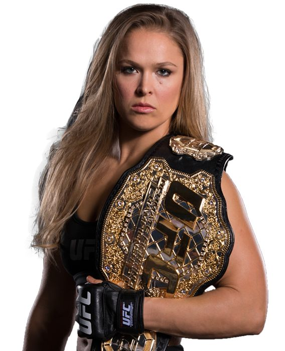 Ronda Rousey - UFC Women's Bantamweight Champion - Fecha de nacimiento: 1 de febrero de 1987 (edad 28), Riverside, California, Estados Unidos Estatura: 1,70 m Peso: 61 kg