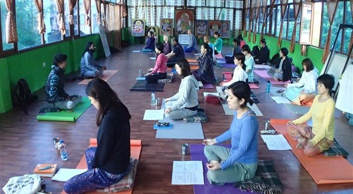 Class in our new yoga hall