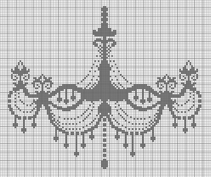 Chandelier | Cross-stitch Monochrome