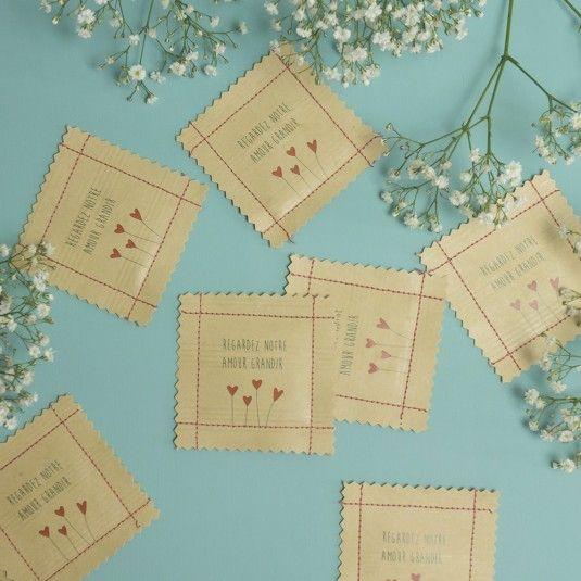 Des sachets de graines de fleurs en cadeaux d'invités pour vos jolies fêtes ( mariage, EVJF, Baby-shower, anniversaire, baptême...)