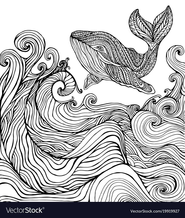 Whale and ocean waves coloring page for children and ...