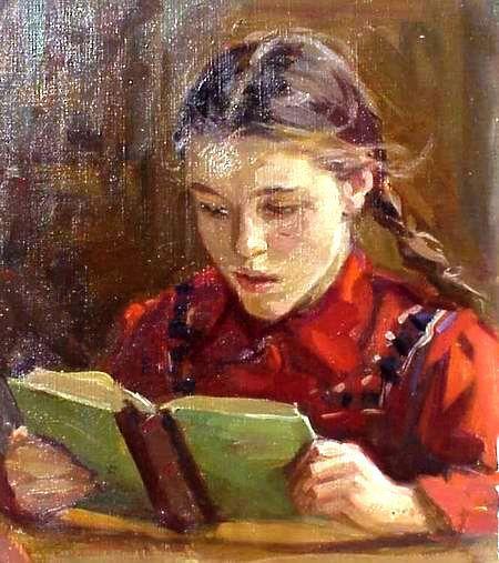 Menina lendo, 1957, by Boris Anatolyevich Sholokhov (Rússia, 1919 – 2003)