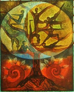 YOGA & ART - Gabriela Pomplova  Yoga Asana Tree Loved and pinned by www.downdogboutique.com