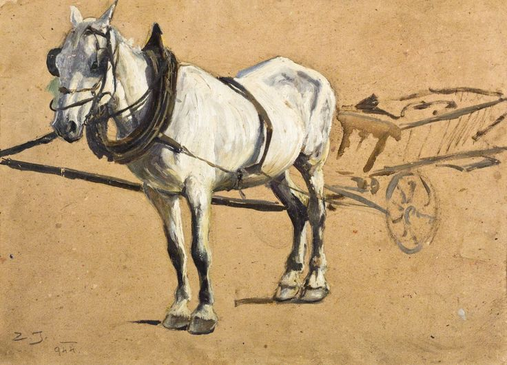 Zygmunt Józefczyk - SIWEK PRZY DRABINIASTYM WOZIE, 1944 Olej, tektura; 36,5 x 51 cm