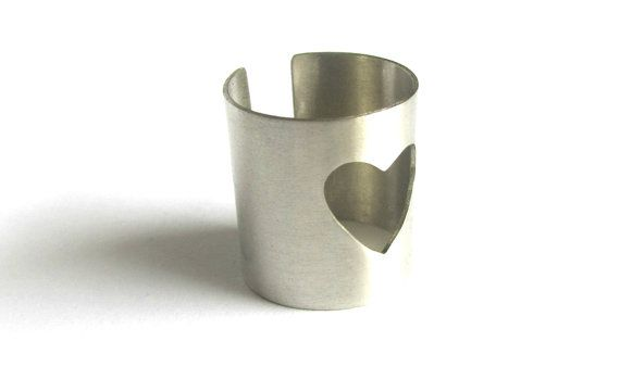 Heart ring-Adjustable-Hand formed-Cuff by PlanetEarthHandmade